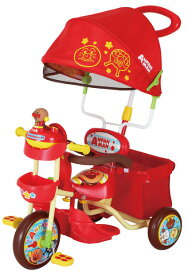M&M(エムアンドエム)それいけ!アンパンマン デラックス2 レッド (ブザー付おでかけ三輪車) 三輪車 押し棒 サンシェード 乗用玩具