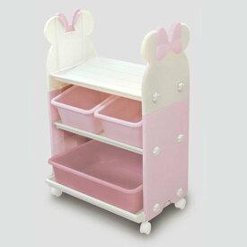 錦化成 ミニーマウス トイ・ステーション(P×BE) 組み立て式 キャスター付き おもちゃ箱・本棚に 日本製 【Disneyzone】  0