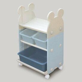 錦化成 ミッキーマウス トイ・ステーション(B×BE) 組み立て式 キャスター付き おもちゃ箱・本棚に 日本製【Disneyzone】