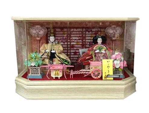 【特価品】雛人形 ケース飾り アクリルケース オルゴール付 コンパクト 小さい/初節句御祝/三月人形/お雛さま/ケース入り/親王 ひな人形 まどか親王