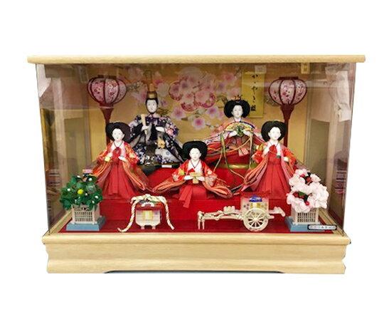 雛人形 ケース飾り アクリルケース オルゴール付 コンパクト 小さい/初節句御祝/三月人形/お雛さま/ケース入り/ ひな人形 舞姫五人