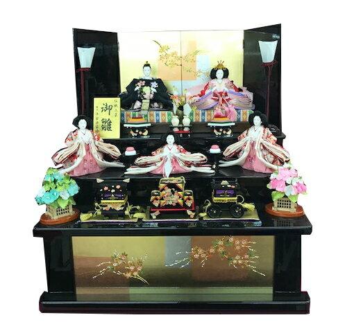 雛人形 収納飾り 三段飾り台 間口60cm  コンパクト 小さい/初節句御祝/三月人形/お雛さま/五人飾り ひな人形