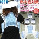 熱中症対策グッズ 冷却ベスト 上位モデル アイスハーネス 保冷剤3個付きセット ブルーチェック×ホワイト レディース …