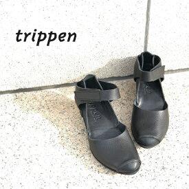 trippen[トリッペン]/GENTLE-WAW[ジェントル] パンプス ベルクロ ストラップ ヒールアップシューズ シンプル レディース レザー 本革 黒 ブラック