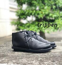 trippen[トリッペン]/SPACE-WAW[スペース]/BLK-BK ショートブーツ ミドル丈 レースアップ Closedコレクション シンプル レディース レザー 本革 靴