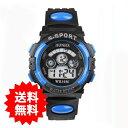 【メール便送料無料】子供用 HONHX デジタル腕時計【5色】時刻設定済 アウトドア キャンプ 日常防水 バックライト7色+…