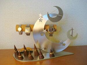 クリスマスプレゼントに 時計スタンド 送料無料リーフトリプルクロスムーンアクセサリースタンド