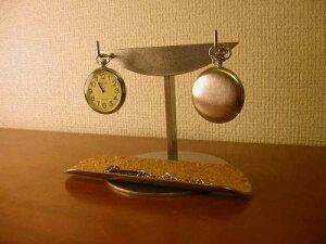 懐中時計 スタンド 2本掛けロングトレイインテリア懐中時計収納スタンド