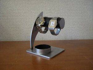 プレゼントに 時計スタンド 送料無料ブラック2本掛けウォッチ収納スタンド 丸いトレイ BWSD990