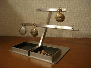 誕生日プレゼントに 懐中時計スタンド 6本掛けダブルデカイトレイ懐中時計スタンド ブラックトレイ
