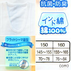 ボーイズ150/160cmU首半袖シャツ2枚組スムース☆メール便対応…1組配送可男の子/肌着/インナー/ジュニア