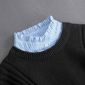 つけ襟 フリル ハイネック ボーダー シャツ レディース 可愛い コットン ツケエリ ブルー 女性 かわいい エリ 襟 スタンドカラー 付け襟 つけ衿