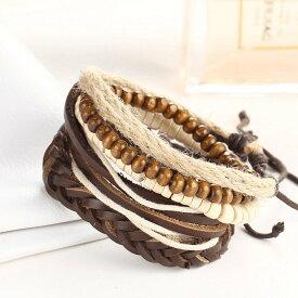 ブレスレット レディース アクセサリー 藁 紙 民族風 ボヘミアン 自然素材 メンズ シンプル 編み 縄 デザイン 木 ウッド 調整可能 本革