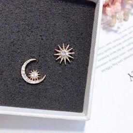 太陽 星 可愛い 月 star monn sun 小さい ピアス キラキラ S925 銀針 金アレ対応 アメリカン ゴールド色 スター ジルコン レディース 女性 個性的