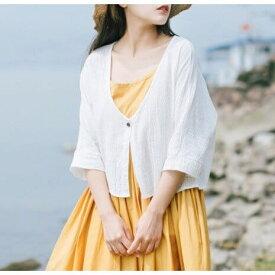 夏 カーディガン ポレロ ボタン 綿麻 リネン 無地 薄手 UV対策 冷房 7分袖 フリーサイズ 可愛い トップス レディース 日常 お出かけ 定番