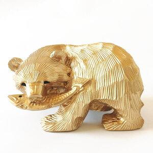 送料無料 貯金箱 鮭喰い熊 ゴールド