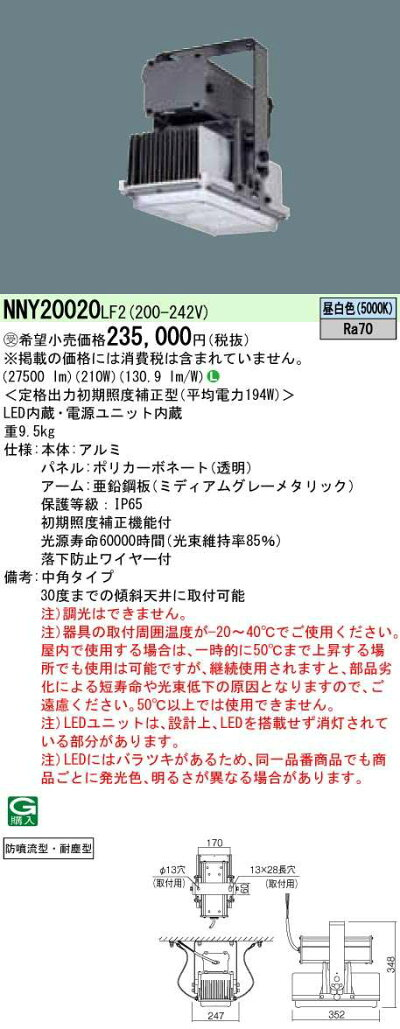 ◆受注品◆Panasonic高天井用照明NNY20020LF2