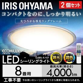 【2個セット】シーリングライト おしゃれ 8畳 調光 調色 led メタルサーキットシリーズ クリアフレーム CL8DL-5.1CF 送料無料 天井照明 高効率 取り付け簡単 ダイニング 省エネ アイリスオーヤマ