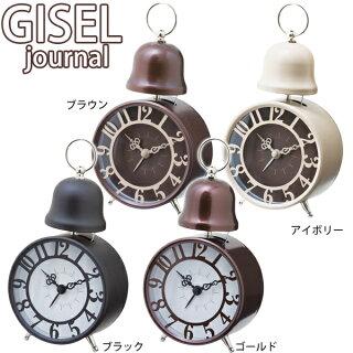 【TC】目覚まし時計GISELjournalジゼルジャーナルCL-7553アイボリー・ゴールド・ブラウン・ブラック置き時計とけいトケイクロック時間インテリア雑貨プレゼント【NGL】【RCP】【お取寄せ品】