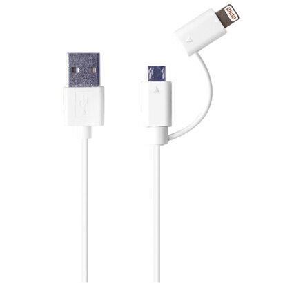 【送料無料!DM便】Lumen/ルーメンApple iOS 認証【新商品】2in1マイクロ + ライトニングケーブル高速充電/データ転送ケーブル【1m】sync&charge USB Lightning & MicroB Cable