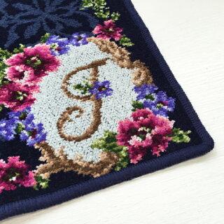 [日本製/ギフト/あす楽]【アーンジョーのシェニール織。かわいい刺繍【花文字2イニシャルACEHJKMNRST】(ネイビー)ハンカチタオルレディース10P01Mar16
