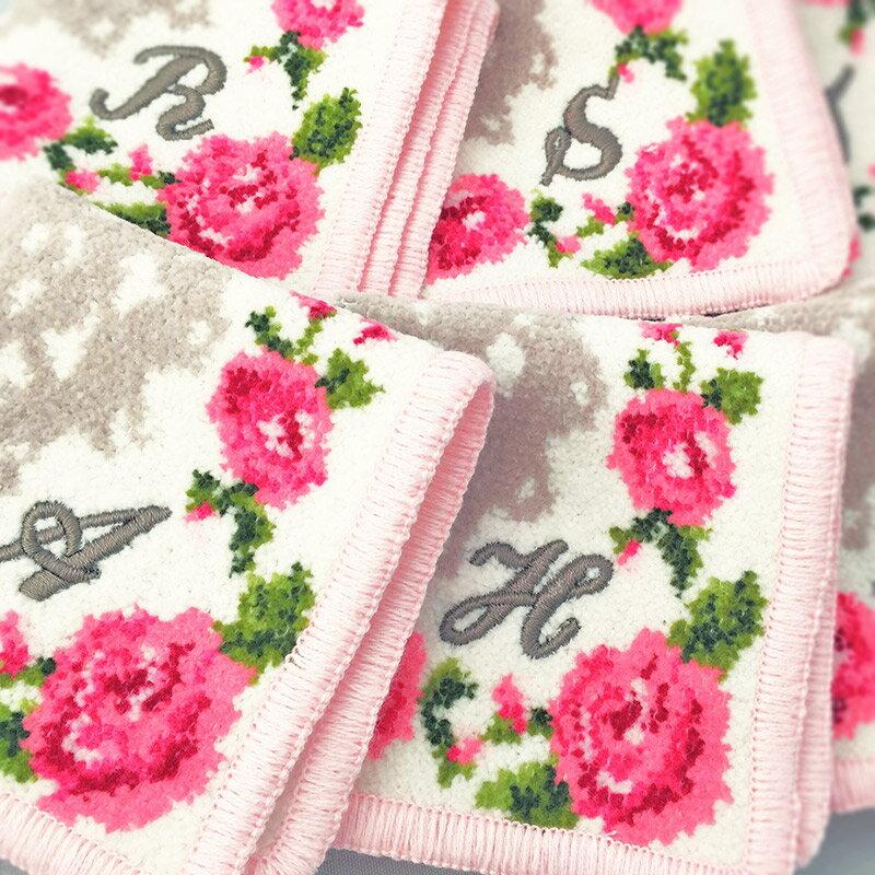 刺繍イニシャル ミニハンカチ【リトルローズ】(ホワイト)日本製 タオル 17cm シェニール織 綿100% アーンジョー [日本製/ギフト/同梱不可/DM便送料無料]NEW