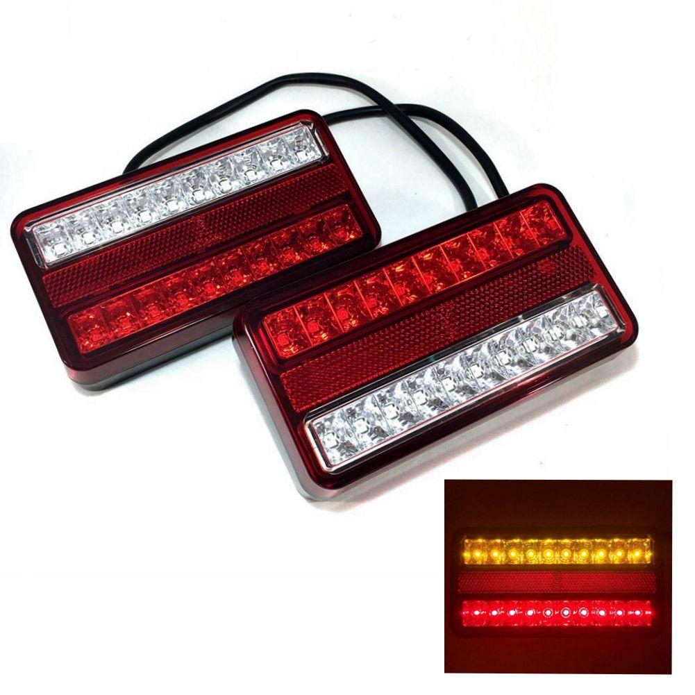 12V 20連 LED 防水 テール ランプ 左右 セット ウインカー スモール ブレーキ ライト 汎用 パーツ トラック トレーラー ボート リフト デコトラ 等