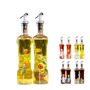 オイルボトル 花柄 おしゃれなオイルボトル オイルポット 調味料入れ 醤油ボトル 酢ボトル 油さし オイル差し ガラス素材 防塵 業務用 家庭キッチン 500ml 2個