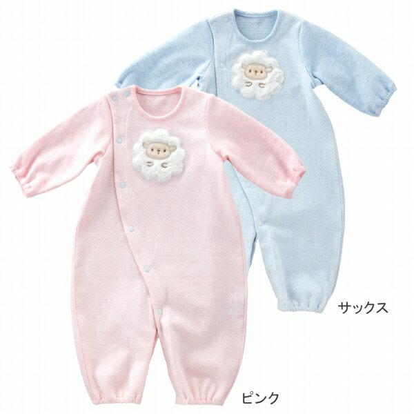 【公式ショップ 赤ちゃんの城】ツーウェイドレス ひつじちゃん ピンク サックス 春秋冬用 日本製