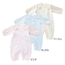 ツーウェイオール 日本製 ベビー服 出産準備 新生児 ツーウェイドレス 秋冬用 くまちゃんボーダー ニットキルト 綿100%
