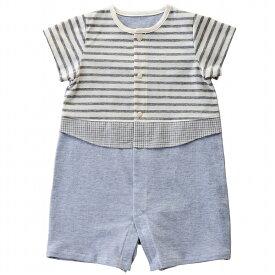 054562418c202  公式ショップ 赤ちゃんの城 ベビー服 ロンパース 半袖コンビ 70 80 男の子 オーガニック ベル