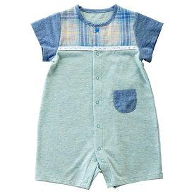ee93af8d3b3c8  公式ショップ 赤ちゃんの城 ベビー服 ロンパース 半袖コンビ 70 80 男の子 ガーデニアチェック