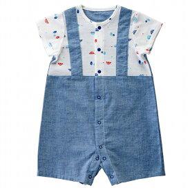 8a8e79d7e8cff  公式ショップ 赤ちゃんの城 ベビー服 ロンパース 半袖コンビ 70 80 男の子 くるま 夏