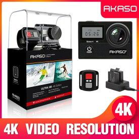 AKASO Brave4 アクションカメラ 4K高画質 16MP画素 170度広角レンズ 手ぶれ補正 WIFI搭載 2インチ液晶画面 タッチスクリーン 水中 スポーツカメラ 30m防水 HDMI出力 リモコン付き ウェアラブルカメラ バイク自転  自転車録画カメラ 車