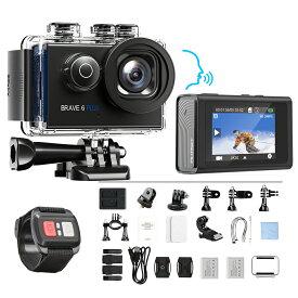 AKASO Brave6 Plus アクションカメラ 2インチタッチスクリーン 超高画質 4K/30fps WiFi搭載 EIS手ぶれ補正 170度広角 スポーツカメラ 30m防水 自転車録画カメラ