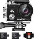 【マラソンSALE期間併用可300円クーポン配布】Dragon Touch Vision3 アクションカメラ 4K高画質 1600万画素 ウェアラ…