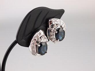 Natural sapphire diamond earrings platinum PT850 nature sapphire S1.01ct.S0.96ct natural diamond D0.20ct.D0.20ct