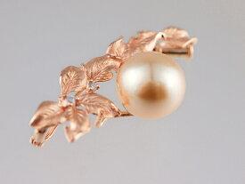 【南洋真珠】天然南洋真珠ダイヤブローチ18PG 金18ピンクゴールド 南洋真珠珠径約11.0mm-11.2mm天然ダイヤモンドD0.05ct【中古】【新品仕上げ】【美品】