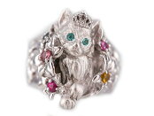 1点限り猫天然宝石リングホワイトゴールド15.5号サイズ直し応相談ダイヤモンドサファイアトルマリンルビーダイヤD0.07ct21.7gCATキャットあす楽対応送料無料指輪楽天最安値中古美品新品仕上げネコ金18K18珍しい可愛い猫の指輪宝石の国