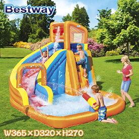 大型プール プール Bestway WATER PARK ベストウェイ プール 滑り台付き 子供用プール 家庭用 ウォーターパーク 水鉄砲 横365 x 320 x 270 cm 屋外用 リゾート 庭 プール 超大型 ビニールプール ファミリープール 水あそび キッズプール 滑り台 大型遊具