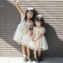 【子供ドレス】【90/100/110/120cm】赤ちゃんドレス 刺繍 半袖 透け パフスリーブ ワンピ トップス ワンピース ドレス…