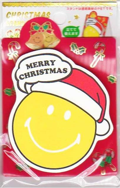 【Xmasグッズ】クリスマススタンド付箋 SMILEYサンタ CMAT-182 ★スマイリーデザインのスタンドふせん/ダイカット付箋メモ/クリスマスグッズMERRY CRISTMAS/ニコちゃんマークスマイルメッセージCATCH HAPPINESS★【3cmメール便OK】