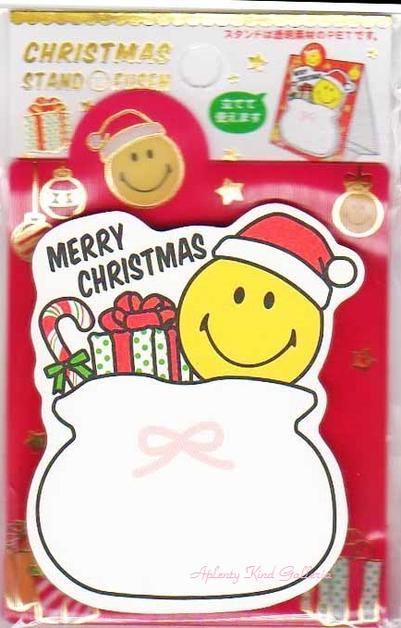 【Xmasグッズ】クリスマススタンド付箋 SMILEYサンタの袋 CMAT-183 ★スマイリーデザインのスタンドふせん/ダイカット付箋メモ/クリスマスグッズMERRY CRISTMAS/ニコちゃんマークスマイルメッセージCATCH HAPPINESS★【3cmメール便OK】