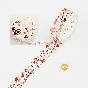 【New BGM Xmasマステ】BGMクリスマス プレゼント BM-SPLM003 X'mas箔押しマスキングテープ ★ビージーエムの幅15mmのマステChiristmasスペシャル金箔シリーズハートリボン帽子くつした赤色カラー箔