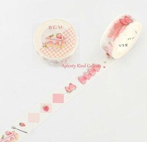 【BGMマステ】ライフ/Life 15mm BM-LA046 イチゴケーキ BGMマスキングテープ ★ビージーエムの幅15mmのマステLIFEシリーズマスキングテープ装飾シールテープいちご柄苺ストロベリー洋菓子フル