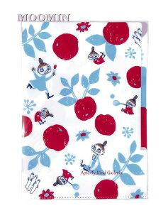 【moominグッズ】M/M A4サイズ 3ポケットファイル D042-45 レッド ★リトルミイミムラニョロニョロ柄 ★3室インデックス付き★ムーミンのクリアホルダー/仕分け収納保管整理分類/赤いお花柄フ