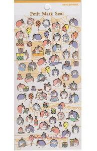 【ハリネズミグッズ】プチマークシールはりねずみパーティ NO.46356★ハリネズミ柄のシール/金の縁取りシール小さいシールseal針鼠柄針ねずみグッズアニマルシール動物柄シールプチシール