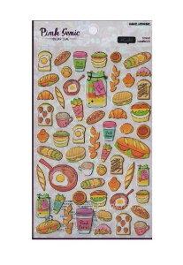 【Pink Genic Seal】ピンクジェニックシールNO.07359 Cafe/カフェ 金の箔押しクリアシール ★トースト目玉焼きブレッドクロワッサンカフェマグバーガーいちごオープンサンドイッチコーヒーフー