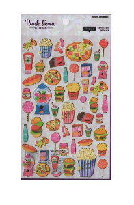 【Pink Genic Seal】ピンクジェニックシールFOOD/フード NO.07357 金の箔押しクリアシール★ピザホットドッグポップコーンお菓子キャンディポテトファストフードチョコレートドリンクフードデ