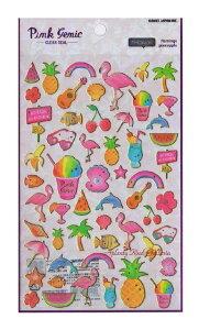 【Pink Genic Seal】ピンクジェニックシールHAWAII/ハワイ NO.07354 金の箔押しクリアシール★ハワイアンハワイデザインヤシの木アイスクリームパイナップルすいかハイビスカスさくらんぼウクレ